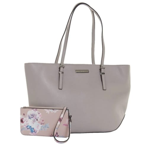 """"""" Nine West Society Girl Shopper Tote with Floral Pouch"""""""
