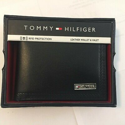Ví da nam Tommy Hilfiger Leather Trifold Wallet and Valet RFID (Đen)