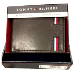 Ví da nam Tommy Hilfiger Brown Color Leather Passcase Bifold Wallet RFID (Nâu)